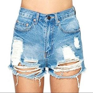 Nasty Gal distressed denim shorts