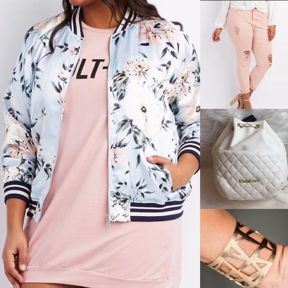 6e09e62ff60 Pink Plus Size floral stripe bomber jacket 1X NWT