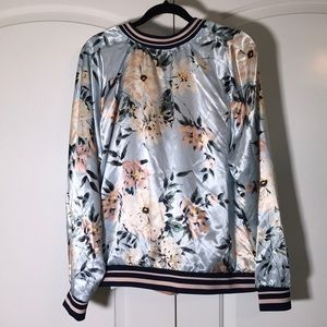 f2a226e617127 Charlotte Russe Jackets   Coats - Pink Plus Size floral stripe bomber  jacket 1X NWT
