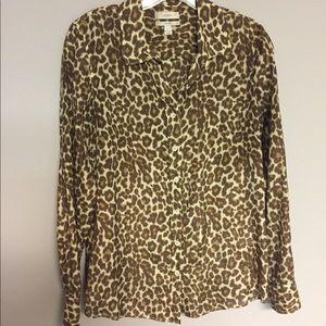 J.Crew Leopard Print Perfect Shirt