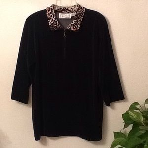 Sarah Bentley Sport Black Fleece Top