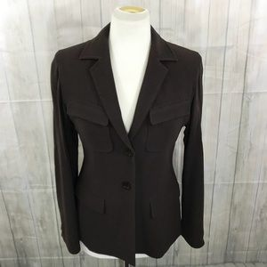 Max Mara Jersey Knit Stretch Blazer Brown Sz 4