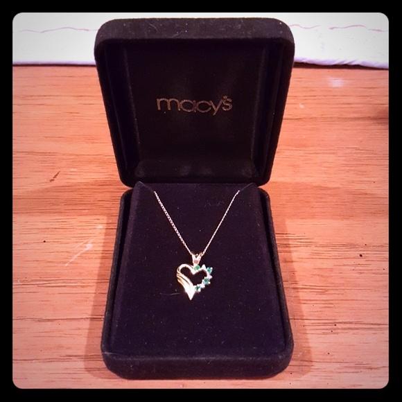 53c9441477cca 14K Gold Emerald Heart Necklace Diamond Accents