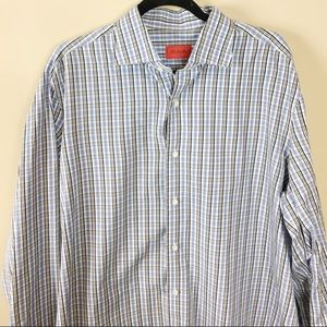 Men's Isaia Napoli Blue Plaid Button Down Shirt