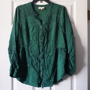 ModCloth Green Printed Tunic Style Back Tie Top