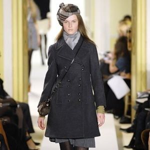 Marc by Marc Jacobs mid-length black wool coat.
