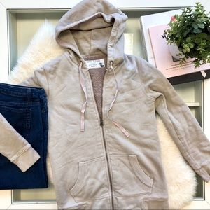 J. Crew Tops - J. Crew Taupe Sherpa Fleece Full Zip Hoodie