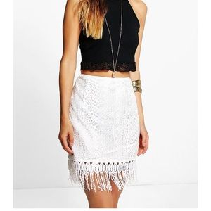 NWT- Lace with Tassel Mini Skirt