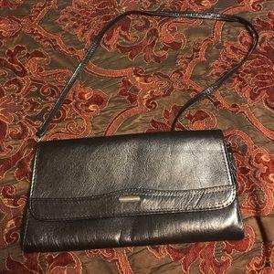 Black faux leather clutch vintage