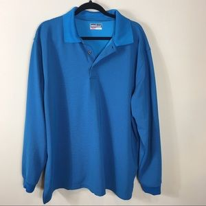 Other - Men's Long Sleeve Blue Striped Polo