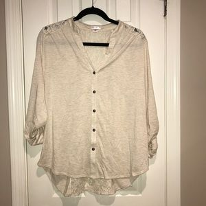 Xhilration cream lace accent button down