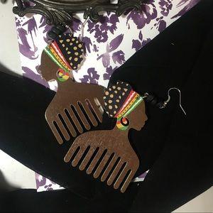 Multi-color wooden, African women drop earrings