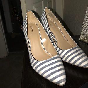 Merona Brand - white and blue striped heels