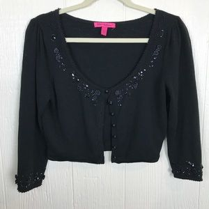 [Betsey Johnson] Black cardigan Beading Cropped