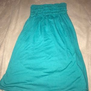 Blue strapless dress/cover up