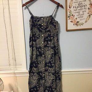 GAP navy blue and white button down maxi dress