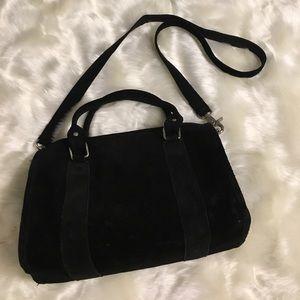 Black Faux suede cross body purse