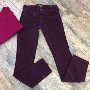 Lucky Brand Purple Charlie Skinny Cords sz 25/0