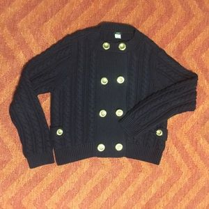 J. Crew navy blue Toulouse cable knit sweater XL