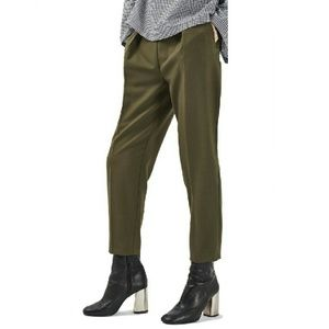 Topshop Grommet Pleated Pants in Olive