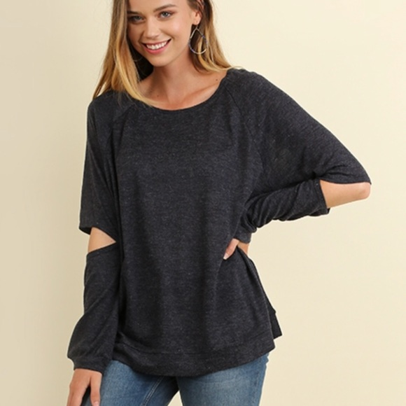 533fb641872 Long Sleeve Soft Casual Tunic Top w Elbow Cut Outs