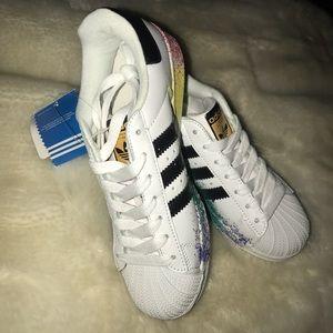 Adidas Originals Superstar custom rainbow splatter NWT