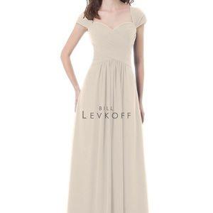 Champagne Bridesmaid Dress Bill Levkoff style 496