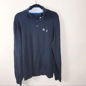 Men's Nautical Button Mock-Neck Sweater Navy