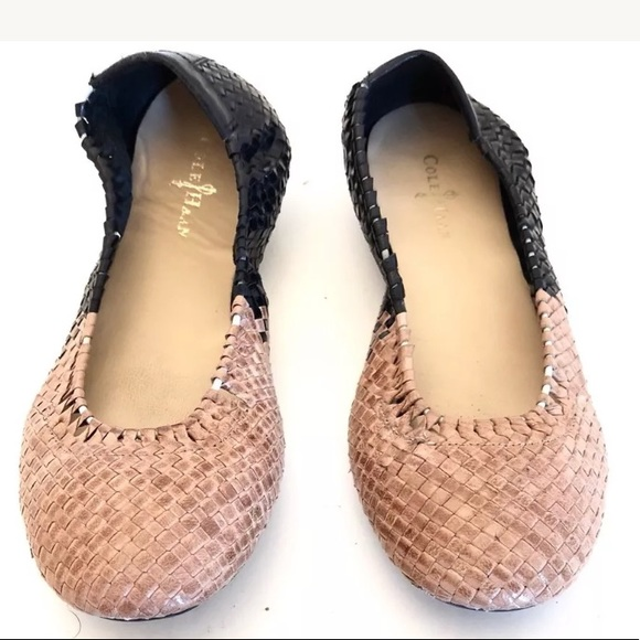 d80d498710c3 cole haan Shoes - Cole Haan Manhattan Tan Black Woven Ballet Flats