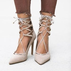 Jeffrey Campbell x Free People nude lace up heels!