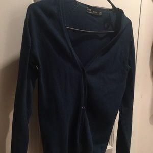 Blue V-Neck ZARA knit Cardigan with buttons