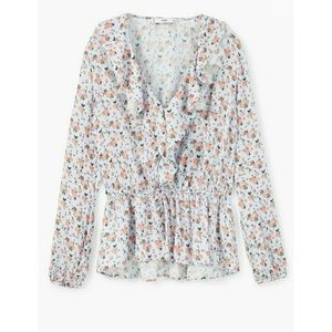 NWT! MANGO Floral Blouse Lace Collar Drawstring