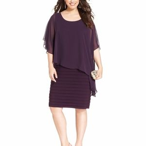 Betsy & Adam Plus Size Chiffon Capelet Sheath Plum