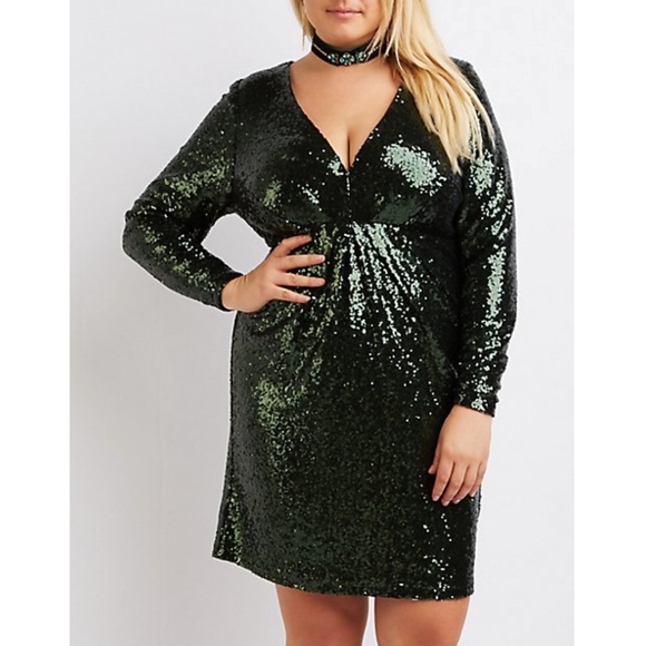 ab82f246a44dc Plus Size Sequin V-Neck Bodycon Dress Green NWT