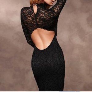 Victoria's Secret Black Lace Open Back Dress