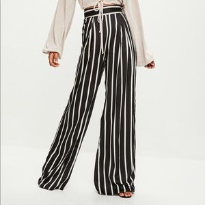 NWT Missguided Tall Black Striped Wide Leg Trouser