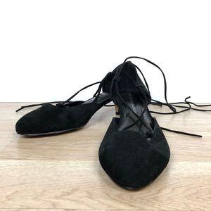 Torrid Lace Up Mini Heels in Black Suede