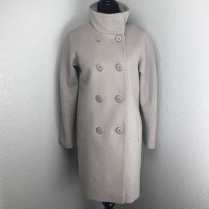 T Tahari Stone Button Up High Neck Jacket Coat