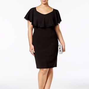 Betsy & Adam Plus Size Lace-Trim Overlay Sheath