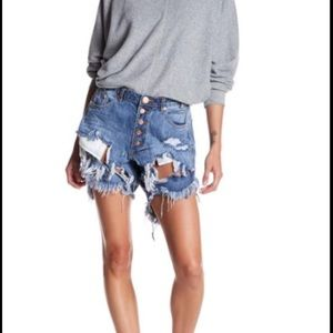 NWT One by one teaspoon denim destroyed shorts