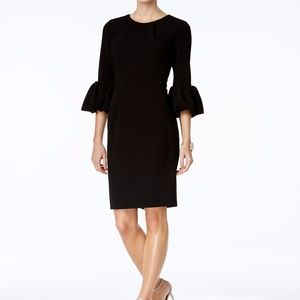 Betsy & Adam Bell-Sleeve Sheath Dress Black