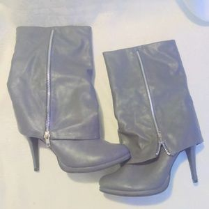 Rouge  Womens Gray Faux Leather Mid Calf Boots