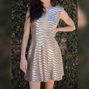 Bebe Sequin Chevron Dress