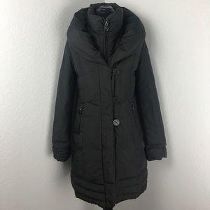 Tahari Black Down Feather Puffer Jacket Coat