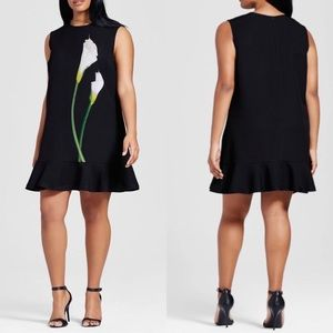 Victoria Beckham Calla Lily Satin Ruffle Hem Dress