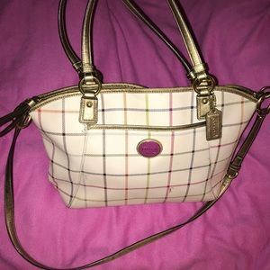 Authentic Coach Leather Gold Plaid Peyton Tote