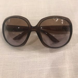 Brown oversized Dior prescription sunglasses