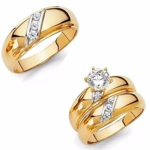 Jewelry - 3pc bride & Groom Set 14k Yellow Gold