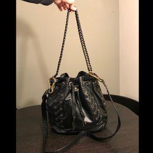 Rare MATT & NAT Black Snakeskin Embossed Moto Bag