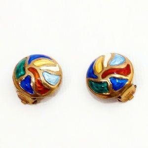 VTG Modernist Norway Sterling/Gold/Enamel Earrings